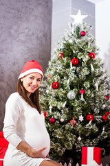 Smiling Pregnant Woman Expecting Christmas Baby