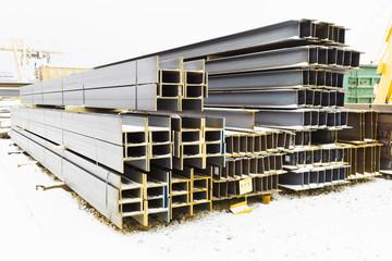 steel girders in outdoor warehouse