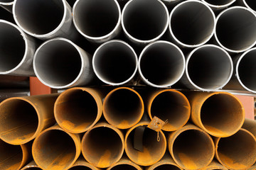construction pipes close up
