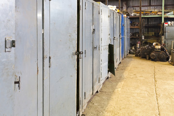 metal cabinets in turning shop