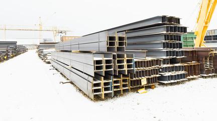 steel bars in outdoor warehouse