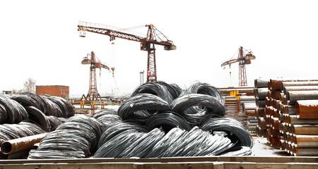 storage of reinforcing steel rolls on yard