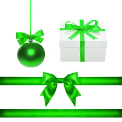 Set for design. Green Christmas ball, ribbon, bow, gift box