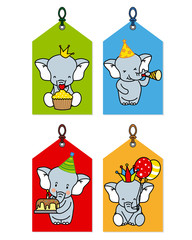 label with elephants having a party