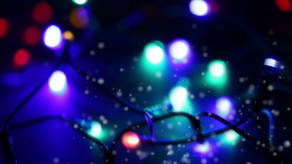 LED christmas lights with snow (dolly shot)