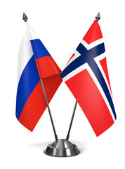 Russia and Norway  - Miniature Flags.