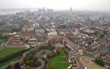 Aerial view of Liverpool - autumn fog