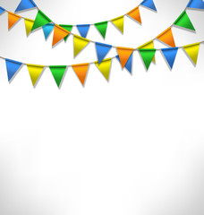Multicolored bright buntings garlands on grayscale background