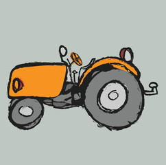 cartoon retro tractor