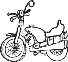 cartoon retro Motor Bike