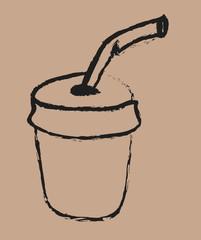 cartoon retro blank plastic cup and straw