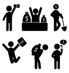 Set of business finance icons isolated on white