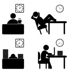 Set of business office work process flat icons isolated on white