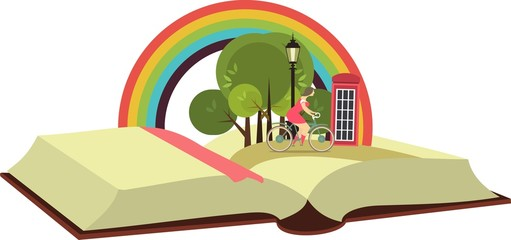 Open book with a traveler on a bicycle