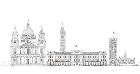 Big Ben, Buckingham palace, St. Paul cathedral, London sketch