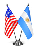 USA and Argentina - Miniature Flags. - 74608587