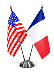 USA and France - Miniature Flags.
