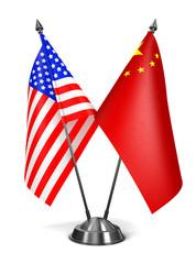 USA and China - Miniature Flags.