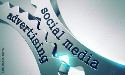 Social Media Advertising on the Cogwheels. - 74608727