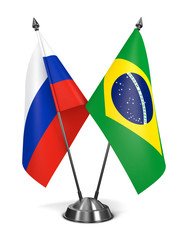 Russia and Brazil - Miniature Flags.