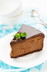 chocolate cheesecake with chocolate glaze
