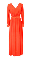 Elegant female long red dress isolated on white. Evening dress.