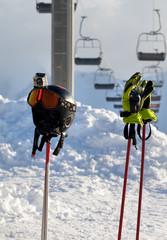 Protective sports equipment on ski poles