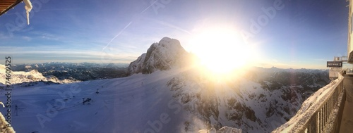 canvas print picture Winter: Sonne überm Gipfel