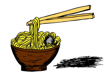 doodle Noodle at bowl and stick