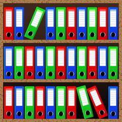 File folders standing on the shelves