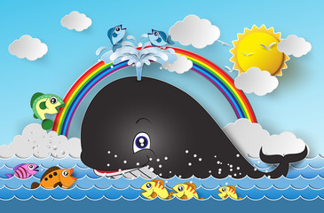 Illustration of cute cartoon whale.