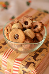 Christmas cookies decorated  in the glass bowl