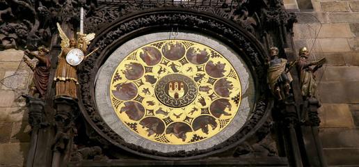 medieval astronomical clock in Prague, Czech republic