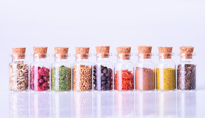 spices in bottles