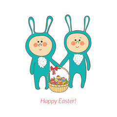 Vector cute bunnies with a basket in hand with eggs