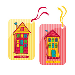 Two colorful label depicting houses in cartoon style