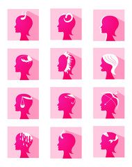 Icons zodiac female profiles