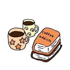 Hand-drawn illustration of cups of coffee and books