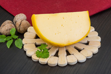Yellow round cheese