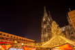 Leinwanddruck Bild - cologne cathedral with christmas market