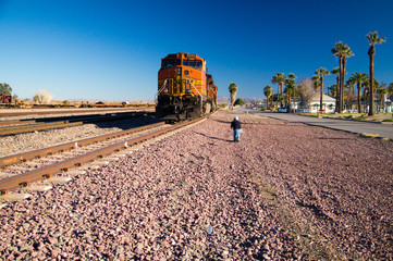 Photographer at BNSF Freight Train Locomotive No. 5240