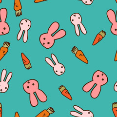 Hand-drawn seamless pattern of rabbits and carrots in blue