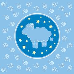 Sheep on blue background