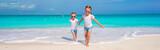 Fototapety Little cute girls enjoy their summer vacation on the beach