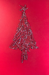 Christmas tree made of broken glass