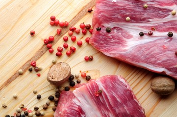 raw meat with spices on wooden background