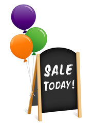 Sign, chalk board folding easel, sale, balloons chain copy space