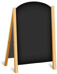 Sign, sidewalk chalk board folding easel, brass chain copy space