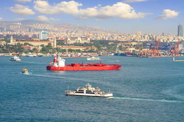 LPG tanker ship sailing in front of Istanbul Commercial Harbour
