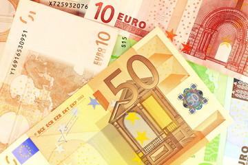 European currency money. Macro details of 50 Euro note